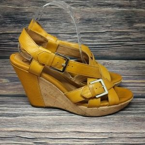 Sofft Mustard Leather Cork Wedge Strappy Wedges